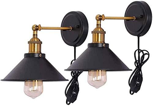 Lámparas de pared industriales, Lámpara de pared de diseño industrial retro negro Vintage con interruptor 1.6m Cable de alimentación Iluminación de pared Ajustable Decoración Dormitorio Dormitorio Lám