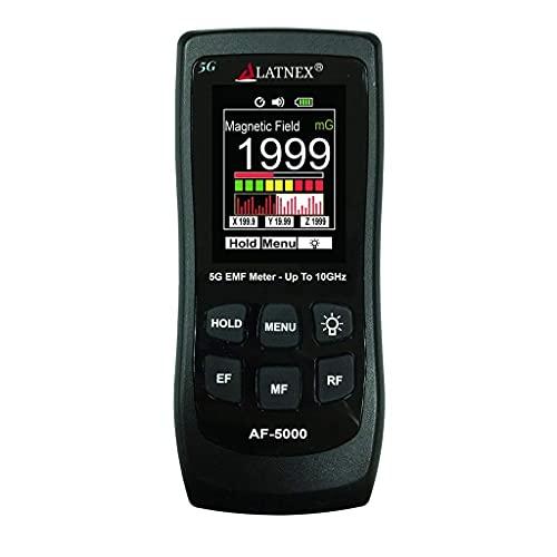 LATNEX AF-5000 5G EMF Meter Tester e lettore RF con certificato di calibrazione - Test e misure RF e Microonde, Gauss a 3 assi o Tesla campi magnetici e ELF elettrici