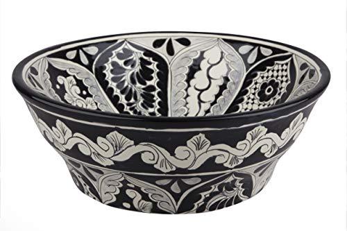 Atalaya - Talavera mexikanisches Waschbecken - Cerames | Aufsatzwaschbecken 40,5 x 15 cm | Waschschale aus Mexiko für Badezimmer, rustikale Küche