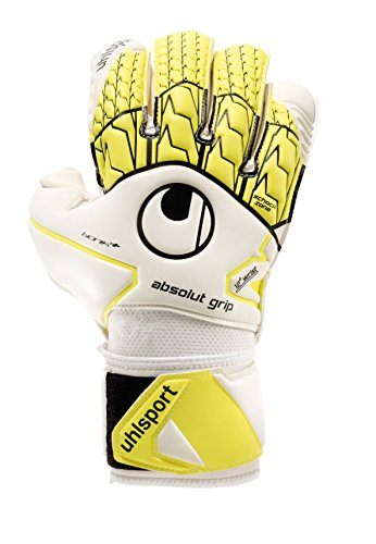 UHLSPORT - UHLSPORT ABSOLUTGRIP BIONIK+ - Gant gardien football - Paume Mousse Absolutgrip - Coupe classique,Blanc (Jaune Fluo/Noir),Taille : 9.5