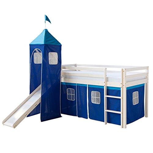 Homestyle4u 521, Kinder Hochbett Mit Rutsche, Leiter, Turm, Vorhang Blau, Massivholz Kiefer Weiß, 90x200 cm