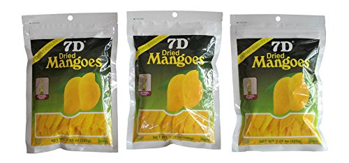 7D Dried Mango Delicious Philippine dried mangoes - 3 Big pack (7.05oz / 200gram)