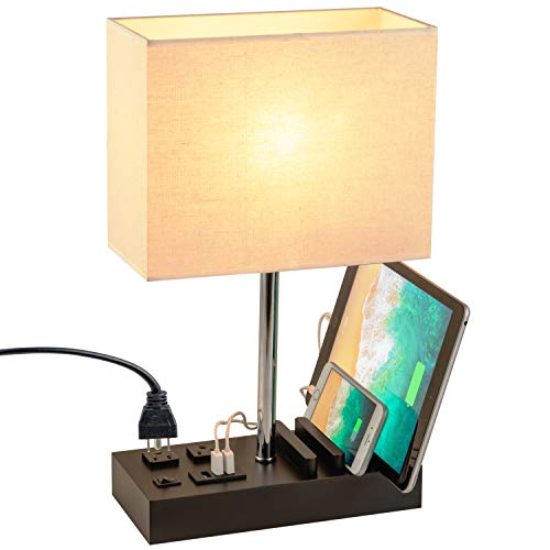Dreamholder Desk Lamp with 3 USB Charging Ports, 2 AC Outlets and 3 Phone Stands, Modern USB Table Lamp with Black Wooden Base and Cream Linen Shade