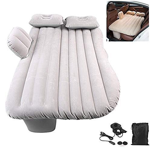 Auto Luftmatratze Aufblasbare Matratze Dickere Luftbett Bewegliche Rücksitz Bett Auto Matratze mit Pumpe für Reisen Camping Outdoor, bis zu 150 kg, Es kann 2 Erwachsene laden (silbergrau)
