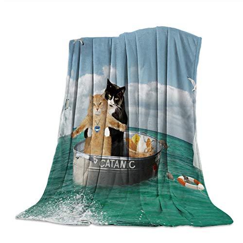 misshxh flanel deken, dier kat ontwerp super zacht en comfortabel groot formaat, geschikt voor enkele en tweepersoonsbed eenpersoonsbank 180x200cm