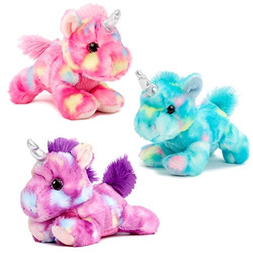 Aurora Unicorn Bundle of 3 Unicorns, Blueberry, Jellyroll and Mulberry Drop Plush Stuffed Animals