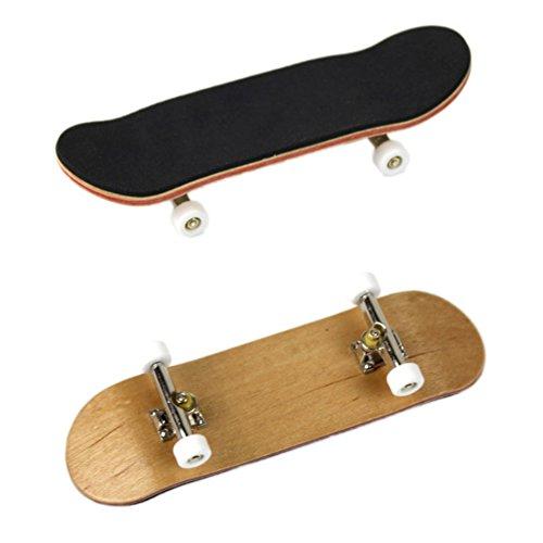 Mrinb Mini Finger Skateboard, Ahornholz Griffbrett Mini-Griffbrett Mit PU rutschfestem Pad Mini Finger Spielzeug für Kinder Spielen Oder ALS Finger Skateboard Dekoration - Weiß