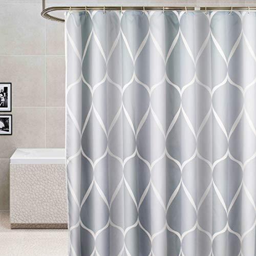 YISHU Top Qualität Duschvorhang Wasserdicht Anti-Schimmel Stoff inkl. 12 Duschvorhangringe für Badezimmer Grau 180x180cm