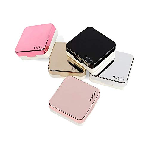 Mini Stylish Simple Contact Lens Travel Case,BeeGift Container Kit Set Contacts Lens Hard Case Travel & Home Kit Mirror with Bottle with Tweezers Container Holder (Rose Gold-Square)