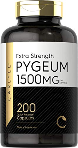 Pygeum Africanum Bark 1500 mg | 200 Capsules | High Potency Extract | Supports Prostate Health | Non-GMO, Gluten Free Supplement | by Carlyle