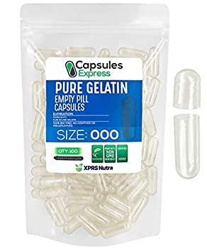 XPRS Nutra Size 000 Empty Capsules - 100 Count Empty Gelatin Capsules - Capsules Express Empty Pill Capsules - DIY Supplement Capsule Filling - Fillable Color Gel Caps Pills  Clear