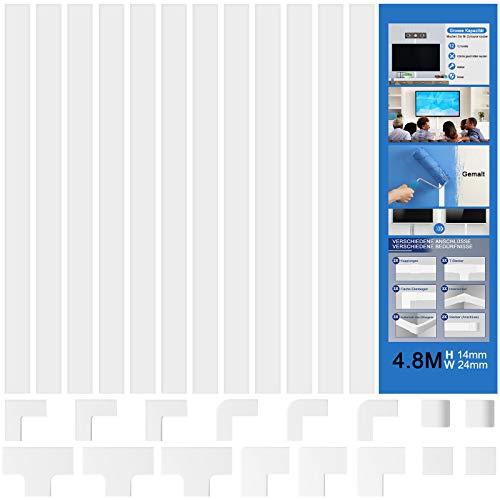 Defrsk 12 Stück Kabelkanal Weiß 480CM PVC Kabelabdeckung Kabelschacht zum Verstecken von Kabel TV Kabelkanal für Alle Netzkabel in Haushalt Büro