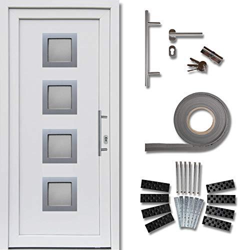 kuporta Kunststoff Haustür Modena Türen 98 x 200 cm DIN links außen weiß/innen weiß mit Stoßgriff-Set Montageset Fugendichtband