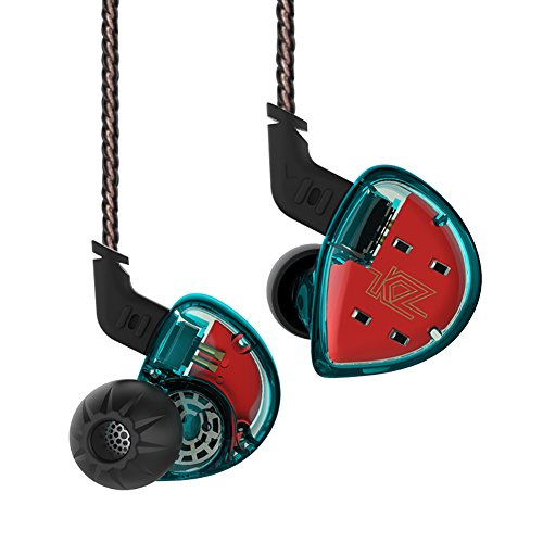 KZ ES4 Hybrid HiFi Bassy in-Ear Headphones/Earphones/Earbuds (Blue Without Mic)