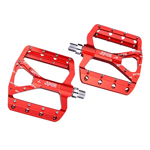 F Fityle Mountain Bike Pedals MTB Pedals Bicycle Flat Pedals 9/16' Sealed Bearing Lightweight Platform for Road Mountain BMX MTB Bike, High Performance - Red