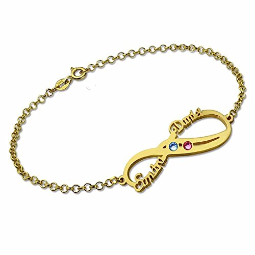 Pulsera de plata con piedra natal infinito, con doble nombre, pulsera de amistad, joyería, Plata de ley,