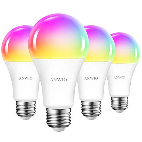 4x 12W Bombillas Inteligentes LED E27 RGB WiFi, A70 Equivalente a 100W, 1521 Lúmenes, Funciona con Alexa, Google Home y Smart Life, ANWIO.
