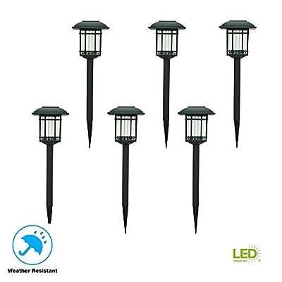 Hampton Bay Solar Black Outdoor Integrated LED 3000K 6-Lumens Landscape Pathway Light (6-Pack)