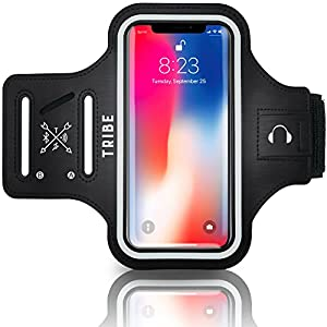 TRIBE Water Resistant Cell Phone Armband Case Running Holder for iPhone Pro Max Plus Mini SE (13/12/11/X/XS/XR/8/7/6/5) Galaxy S Ultra Plus Edge Note (21/20/10/9/8/7/6/5) Adjustable Strap & Key Pocket