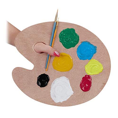 Relaxdays Paleta Pintura de Mezclas con Orificio para Pulgar, Madera, Marrón, 0,4 x 30,5 x 25 cm