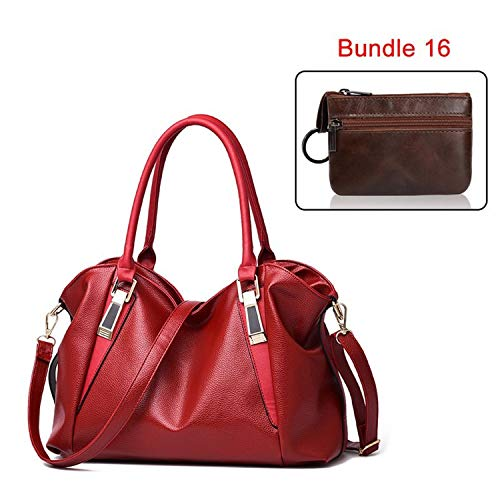 Fashion 2 Bags Set for Women Leather Handbag with Mini Wallet Quality Female Shoulder Bag Casual Tote Bag Coin Purse,16,36x24x16cm