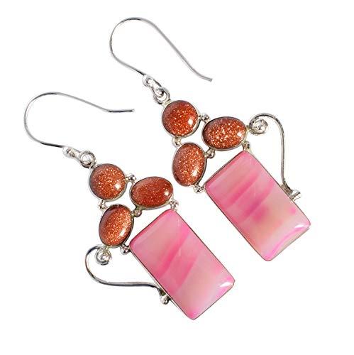 Pendientes de gema de ágata rosa con piedra solar, plata de ley 925 maciza, joyería para mujer FSJ-3619