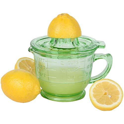 Trenton Gifts Depression-Era Green Glass Juicer w/Measuring Cup, Retro Kitchen Wedding Gift