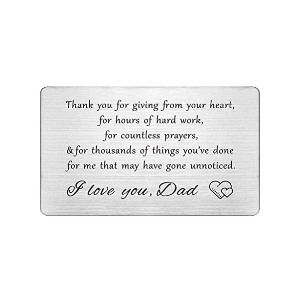 Dad Engraved Wallet Insert Card, Thank You Dad Gifts, I Love You Dad, Fathers Day Gift for Men, Birthday Gifts from Kids, Dad Wallet Insert from Daughter