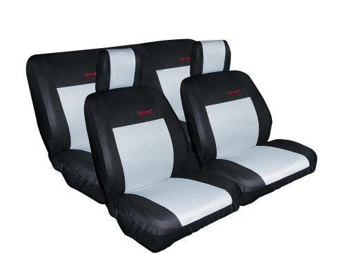 Eufab 28068 Schonbezug-Set, 8-teilig, silber mit schwarzen Seitenteilen, geschäumt