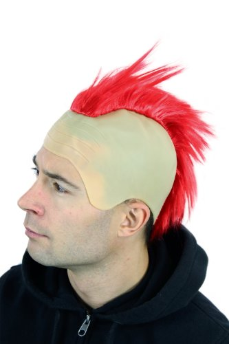 WIG ME UP ® - 4201-PC13 Fasching Karneval Halloween Perücke Punk Roter Iro auf Glatze Mohawk Irokese