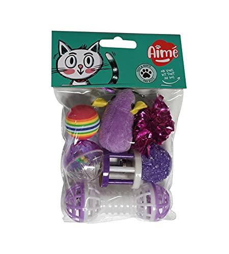AIME Lot de 7 jouets pour Chat, Mix de Différents Jouets pour Chat, Jeu Amusant