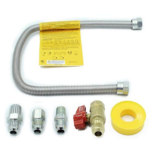 Haoo Acero inoxidable flexible de gas natural y propano válvula de control de bola de latón de 1/2 pulgadas con acoplamiento Kit de montaje Culo