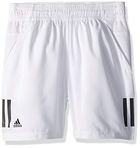 adidas Juniors' 3-Stripes Club Tennis Shorts, White/Black, Small
