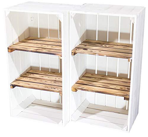 2X Vintage-Möbel 24 Weiße Holzkiste mit 2 geflammten Mittelbrettern 68cm x 40cm x 31cm Zwischenbretter flambiert Obstkiste Weinkisten Klassisch Schuhregal Bücherregal Kistenregal Holz Boxen