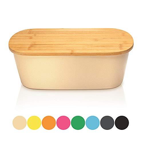 bambuswald© Brotbox mit integriertem Schneidebrett 38x21,5x12 cm - Brotdose | Brotkasten für Croissants, Brot o. Brötchen | Brotbehälter mit Küchenbrett | Brotbrett Natur