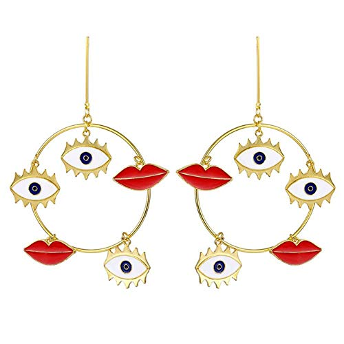 Cristal Diamond Earrings Personalidad Street Punk Eyes Red Lips Heart Earrings Mujeres Big Eyes Geometric Colgante Pendientes Za Jewelry Party Gif, 4