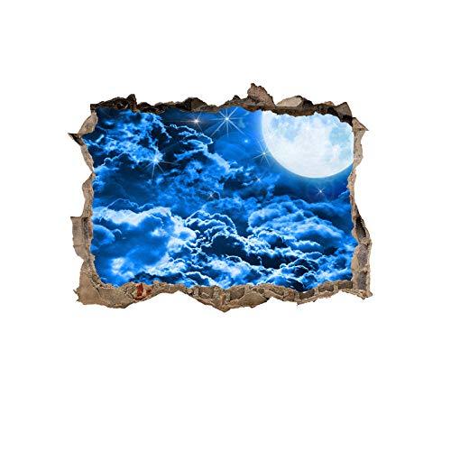 Muursticker wanddecoratie klein raambeeld waterdicht zelfklevend aftrekbaar sticker universum planet blauw sterrenhemel achtergrond 3D kapot muur vervalste raamsticker, 45 x 60 cm Planet # 2