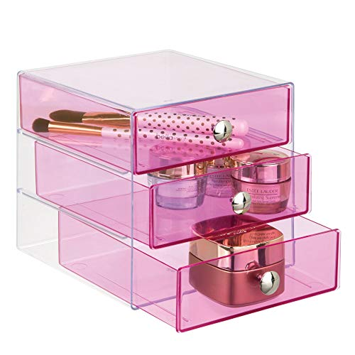 """iDesign Plastic 3-Drawer Jewelry Box, Compact Storage Organization Drawers Set for Cosmetics, Dental Supplies, Hair Care, Bathroom, Office, Dorm, Desk, Countertop, 6.5"""" x 6.5"""" x 6.5"""", Pink"""