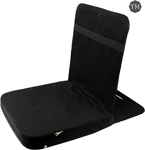 Friends of Meditation Back Jack Yoga Chair Foldable Portable Comfortable Floor Chairs with Back Support for Adults Seating Couch Cushions Gaming Seater Indoor Outdoor (18X 18 Inch Black)