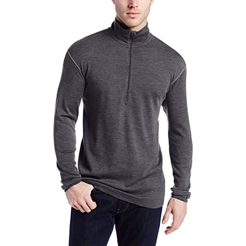 Minus33 Merino Wool Men's Isolation Midweight 1/4 Zip, Charcoal Grey, XXX-Large