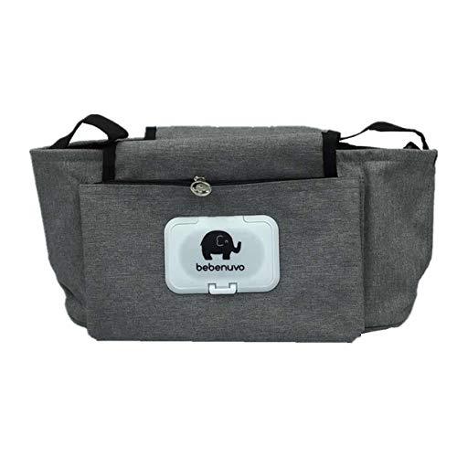 Organizador para cochecito de bebé, universal, con cremallera, accesorio indispensable para cochecito (gris)