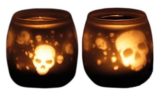 Black Leaf | 90 x 60 mm | 1 Teelicht-Kerze | Glas, schwarz | Teelicht Kerzenhalter Votiv-Glas Totenkopf - Skull | von bong-discount