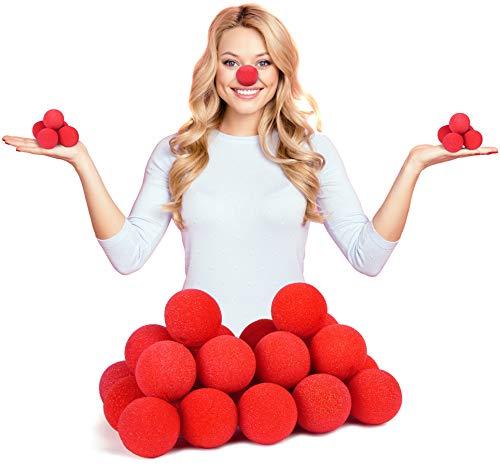 Balinco 25x Rote Clownsnasen | Clown Nasen aus Schaumstoff - perfekt für größere Partygruppen geeignet zum Karneval | Fasching oder Motto Party