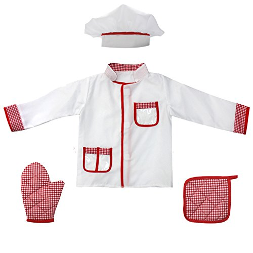 Fedio 4Pcs Kids Chef Role Play Costume Set Chef Dress up Set for Children(Ages 2-4) (Red Gingham)
