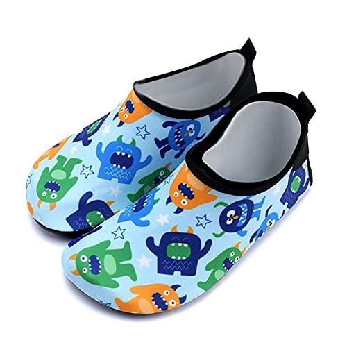 Gogokids Zapatos de agua para niños y niñas, para la playa, piscina, descalzo, ligeros, para 3-9 años, color Verde, talla 31 EU