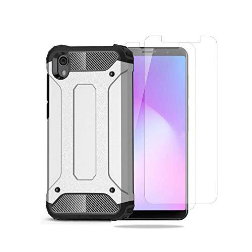 WUFONG hülle für Xiaomi Redmi 7A Hartschalen Handyhülle aus weichem Silikon, die 2 Teile gehärtete Folie beinhaltet.(Silber)