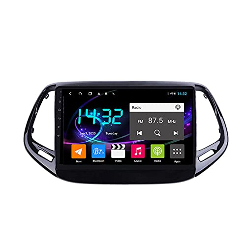 Android 10.0 Car Stereo Sat Nav Radio para Jeep Compass 2017-2019 Navegación GPS 2 DIN 9 '' Unidad Principal Reproductor Multimedia MP5 Receptor de Video con 4G FM DSP WiFi SWC Carplay