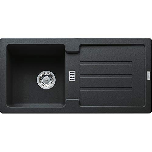 Franke Spüle STRATA STG 614 Onyx mit Stopfenventil / Ausschnittsmaß: 840 x 415 cm / Auflagespüle
