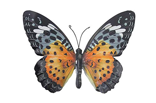 Large Metal Butterfly Orange and...