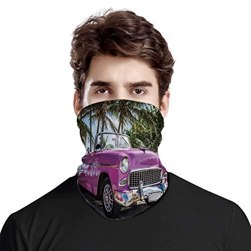 FULIYA Großartiger Gesichtsschutz als Halstuch, klassisches buntes Cabrio, parkt am Strand in Kuba, Meer, exotischer Bäume, Kopftuch, Unisex